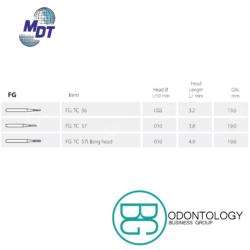 Fresa de Carburo FG Cilíndrica Lisa -Marca: MDT Abrasivos   Odontology BG