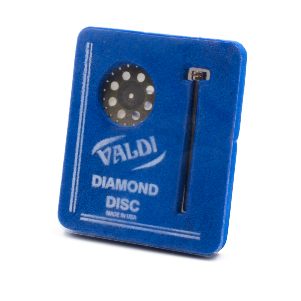Disco Diamante Perforado Con Mandril -Marca: VALDI Abrasivos   Odontology BG
